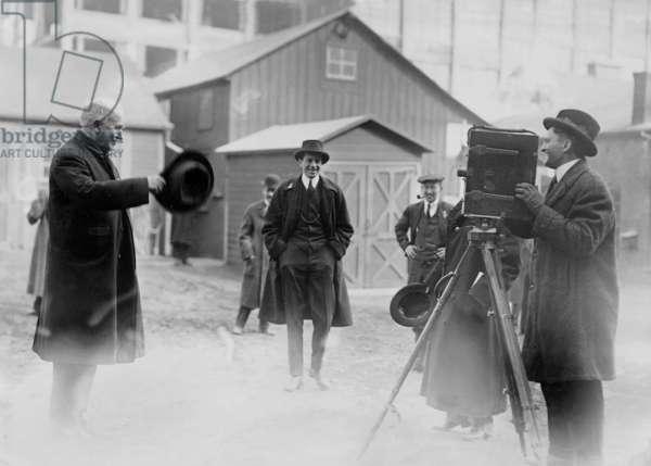 Thomas Alva Edison filming in New York, 1931 (b/w photo)