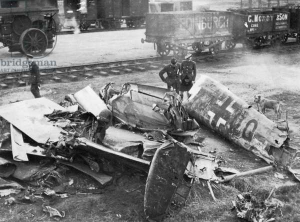 Crashed aircraft after the flight of Rudolf Hess to England, 1941