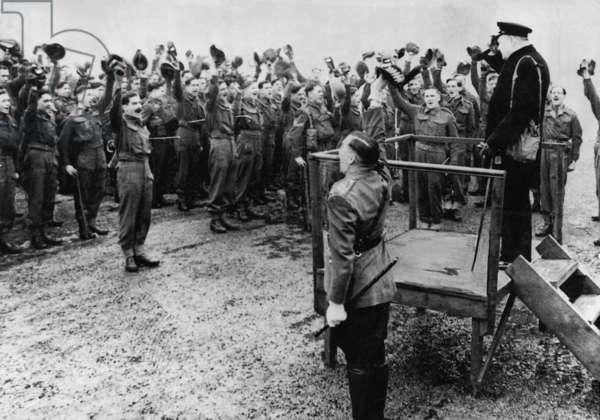 Winston Churchill visited his old battalion, 1941 (b/w photo)