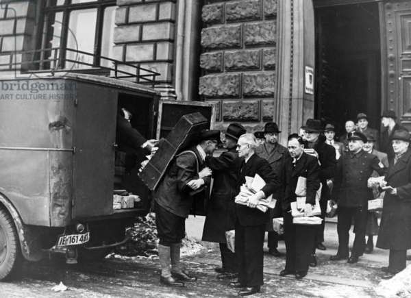Distribution of food ration cards in Berlin, 1942 (b/w photo)