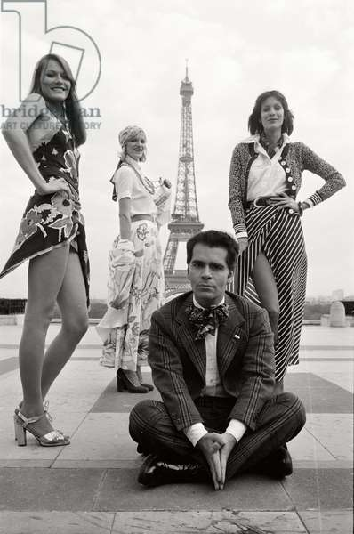 Karl Lagerfeld and Models in Paris, 1972