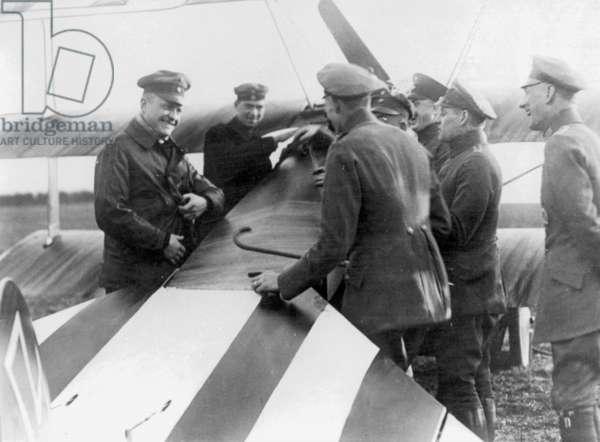 Manfred von Richthofen with officers, 1917 (b/w photo)