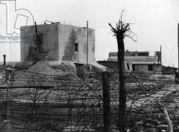 German coastal fortification on the Atlantic Wall (b/w photo)
