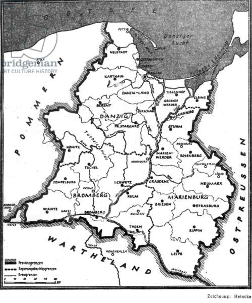 Map of the annexed Nazi Reich District Gdansk-West Prussia, 1939