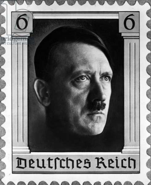 Adolf Hitler as stamp motif, 1937 (b/w photo)