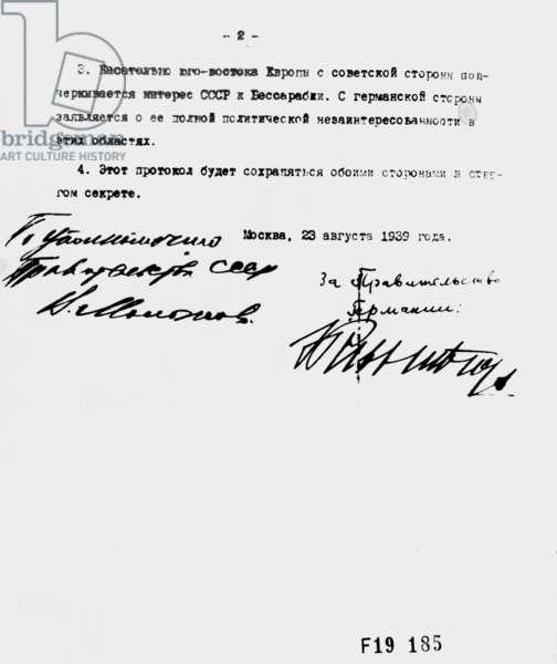 German-Soviet anti-attack pact, 23.8.1939 (b/w photo)