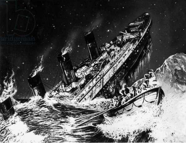 Drawing of the sinking Titanic,1912 (b/w photo)