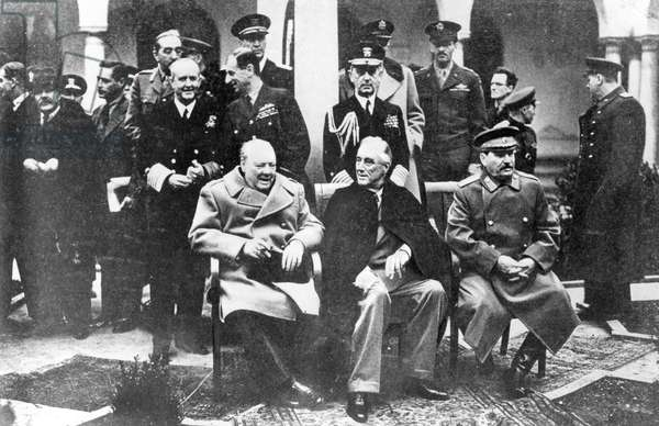 Winston Churchill, Franklin D. Roosevelt and Joseph Stalin at the Yalta Conference, February 1945 (b/w photo)