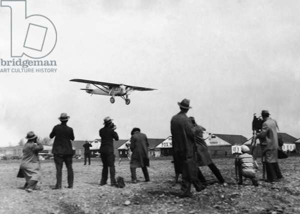 Charles Lindbergh in his plane 'Spirit of St. Louis', 1927 (b/w photo)