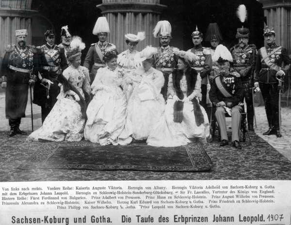 Christening of the hereditary prince Johann Leopold of Saxe-Coburg and Gotha, 1907 (b/w photo)