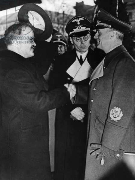 Vyacheslav Molotov with Joachim Ribbentrop, 1940 (b/w photo)