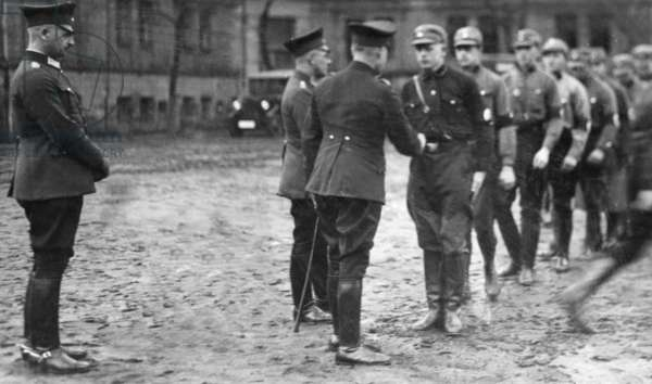 The Sturmabteilung as auxiliary police, 1933 (b/w photo)