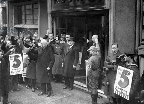 Paul von Hindenburg after voting during the second Reichstag elections, 1932 (b/w photo)