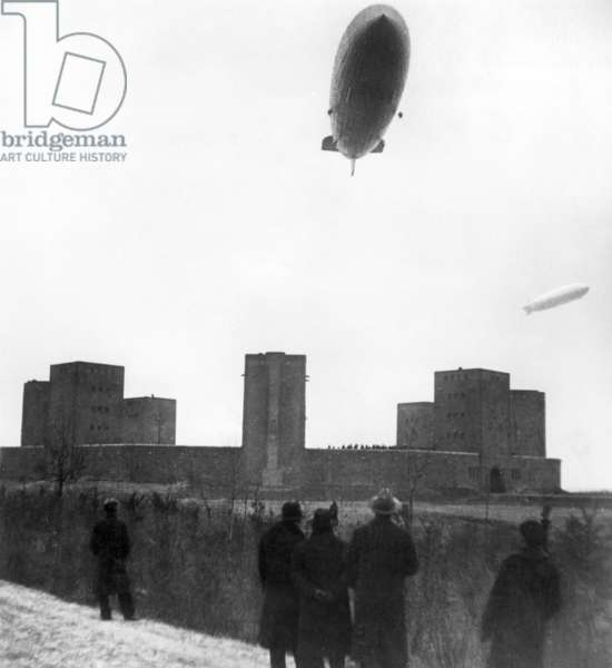 Zeppelins over the Tannenberg Memorial, 1936 (b/w photo)
