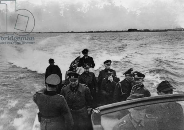 Inspection of German coastal fortifications on the Atlantic Wall, 1944 (b/w photo)