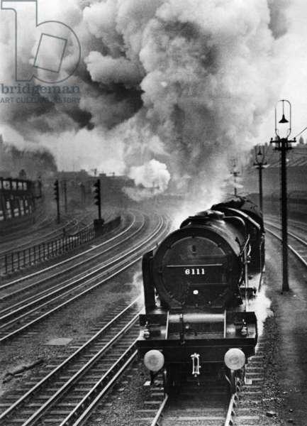 Steam locomotive in Great Britain, 1935 (b/w photo)