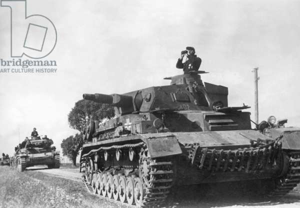 German Panzer IV at the Eastern Front, 1941 (b/w photo)