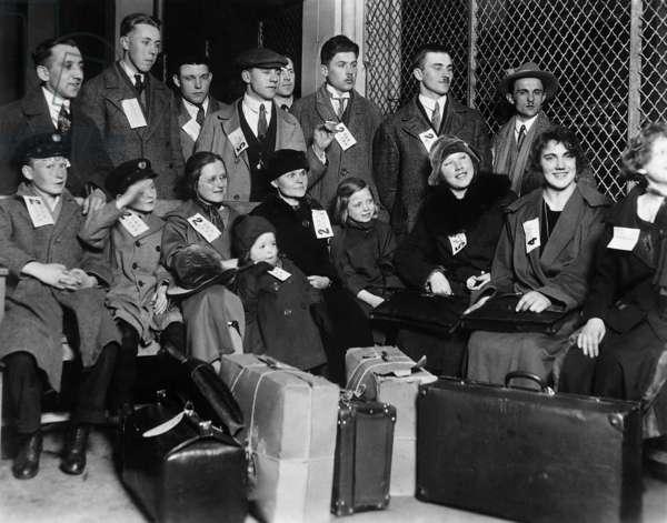 Immigrants on Ellis Island, 1931 (b/w photo)