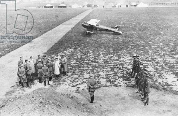 Manfred von Richthofen and Erich Ludendorff with the fighting squadron 'Richthofen', 1917 (b/w photo)