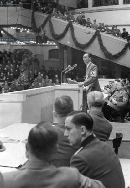 Joseph Goebbels at a rally in the Sportpalast, 1942