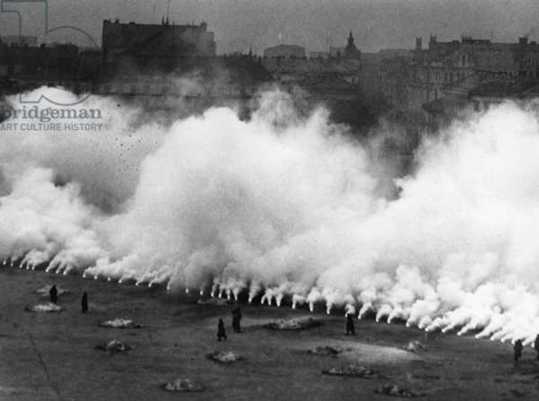 Smokescreen in Poland, during the German invasion of 1939 (b/w photo)