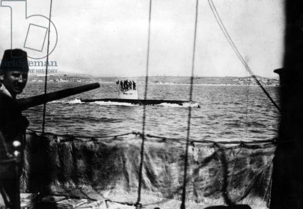 German submarine in the Sea of Marmara in World War I (b/w photo)