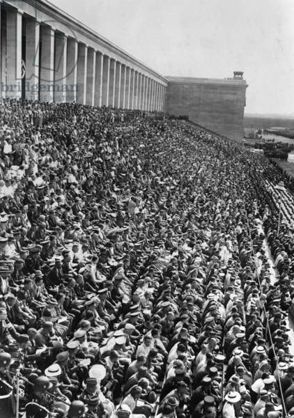 Spectators on the Zeppelin Grandstand during the Nuremberg Rally in 1936 (b/w photo)