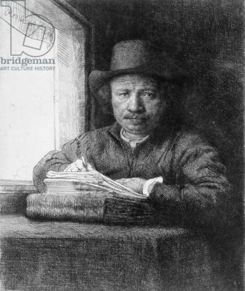 Self-Portrait of Rembrandt van Rijn (b/w photo)