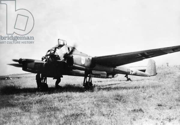 The German  reconnaissance aircraft Focke Wulf Fw 189, 1941 (b/w photo)