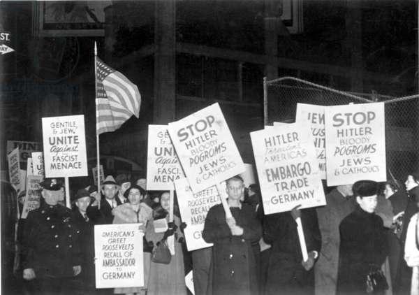 An anti-Nazi demonstration in New York following Kristallnacht, New York City, November 1938 (b/w photo)