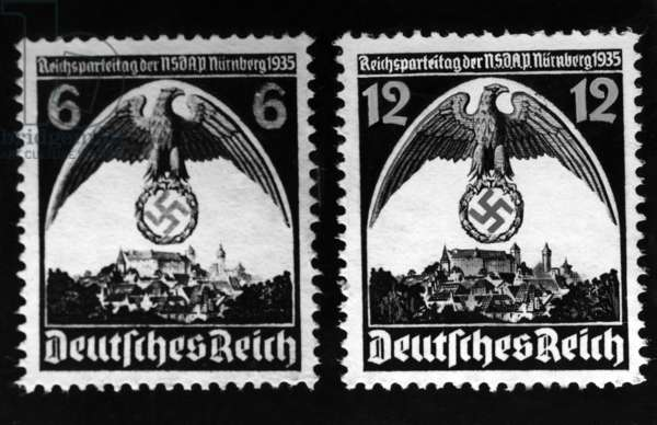 Stamps for the Nuremberg Rally, 1935 (b/w photo)