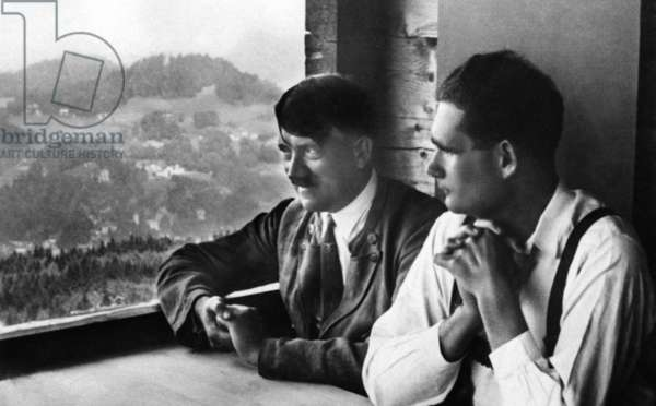 Adolf Hitler with Rudolf Hess, 1932 (b/w photo)