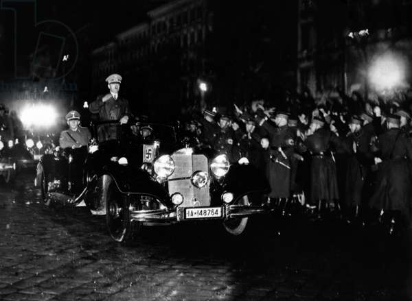 Adolf Hitler in the big Mercedes, 1939 (b/w photo)