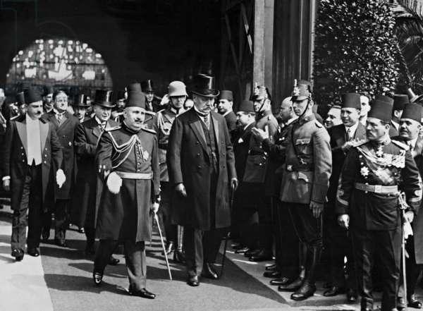 Fuad I, and Paul von Hindenburg, 1929 (b/w photo)
