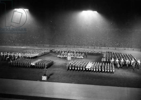Concert of the Wehrmacht in the Berlin Olympic Stadium, 1937 (b/w photo)