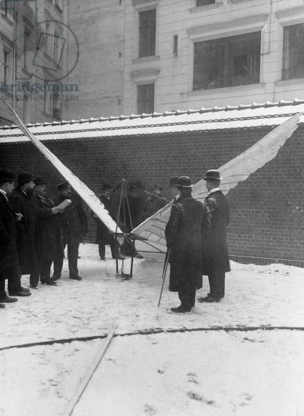 Flying machine of Otto Lilienthal, 1909 (b/w photo)