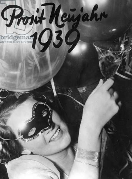 New Year's greetings for 1939 (b/w photo)