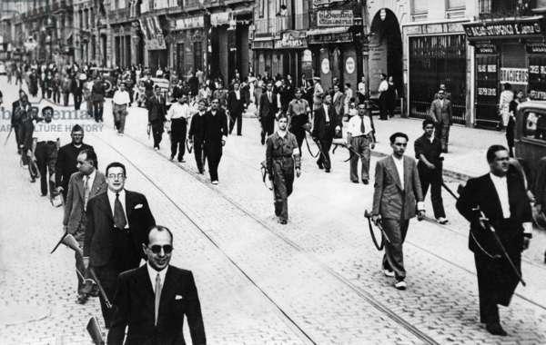Spanish national supporters in Zaragoza, 1936