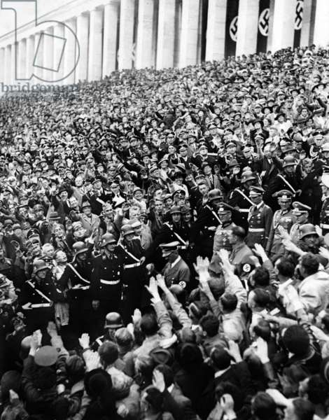 Adolf Hitler at the Nazi Party Rally in Nuremberg, 1938 (b/w photo)
