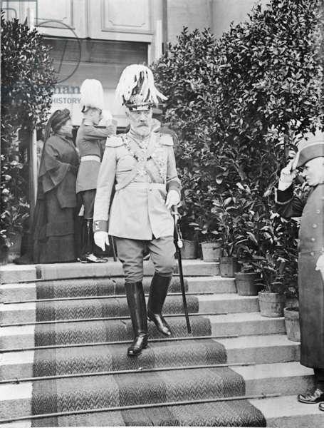 Bethmann-Hollweg at the funeral of Archduke Franz Ferdinand of Habsburg, 1914 (b/w photo)