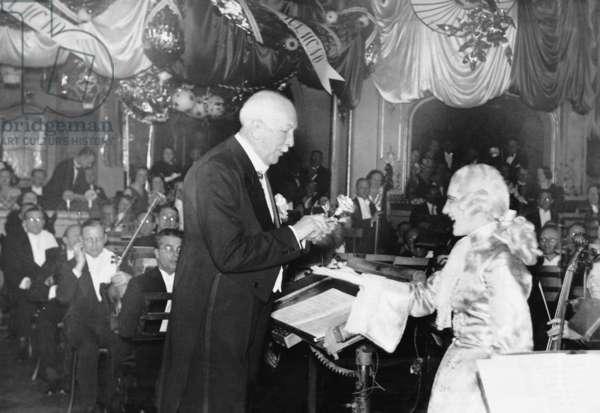 Richard Strauss, conducting 'Der Rosenkavalier', Germany, 1934 (b/w photo)