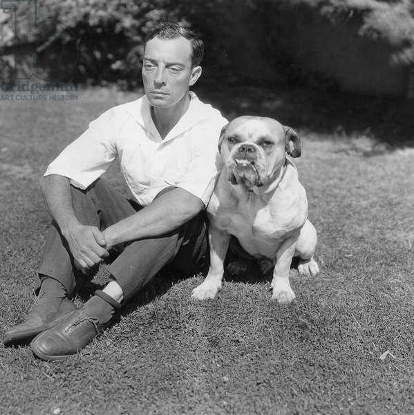 Buster Keaton with dog (b/w photo)