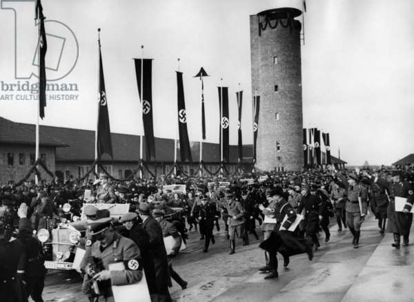 Departure of Adolf Hitler from Ordensburg Kroessinsee / Pomerania, 1936 (b/w photo)