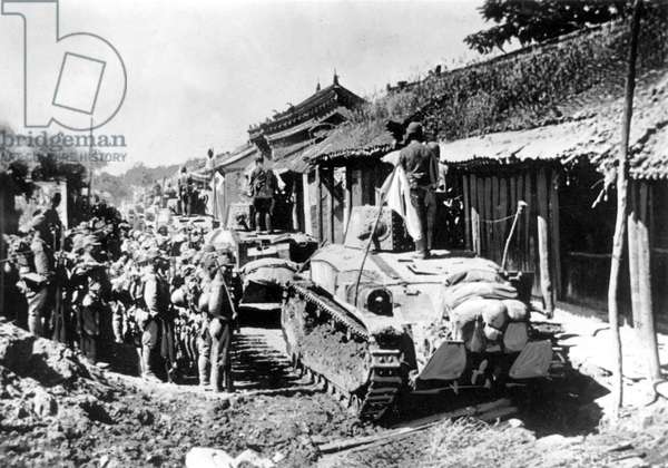 Japanese tanks and soldiers during battles against British troops, Peninsula of Malaya, 1942 (b/w photo)