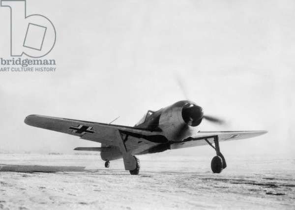 German fighter plane Focke Wulf Fw 190, 1943 (b/w photo)