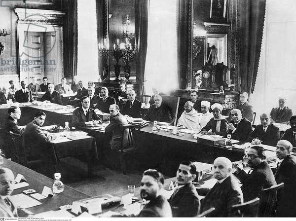 Mahatma Gandhi, Lord Sankey and Pandit Malaviya at the Round Table Conference, 1931 (b/w photo)