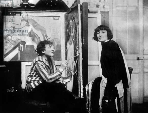Marc Chagall and his wife Bella Rosenfeld in his workshop in Paris, 1926 (b/w photo)