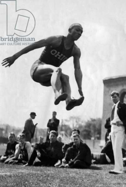 Jesse Owens during the long jump, 1935