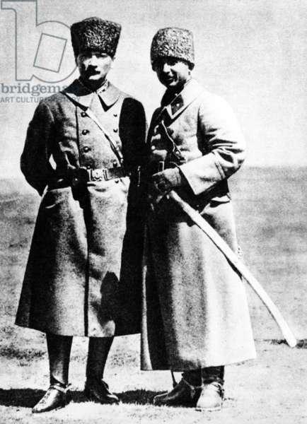 Kemal Atatürk and Ismet Inönü (b/w photo)