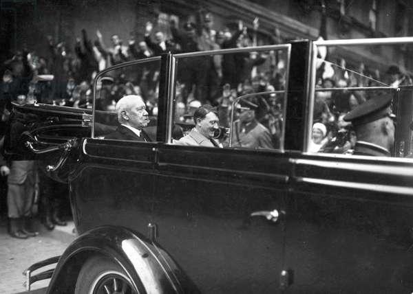 Adolf Hitler with Paul von Hindenburg on 'Tag der Arbeit', 1933 (b/w photo)